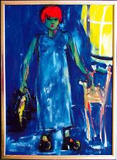 Jutta Loh-Pedersen *1938: Rothaarige Frau Papagei Gemälde 100 x 80 cm Vogel RAR