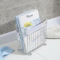 Bathroom Magazine Holder Rack Stand Newspaper Storage Chrome Toilet Organizer