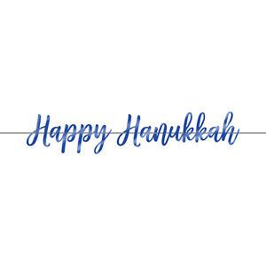 Happy Hanukkah Party Script Banner Decoration Hanukkah Celebration
