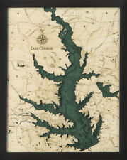 "LAKE CONROE, TEXAS 16"" X 20"" New, Laser-Cut 3-Dimen Wood Chart/Lake Art Map"