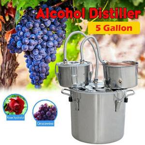 Moonshine Still 5Gal Water Alcohol Distiller Home DIY Brew Wine Making Kit 3 Pot