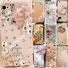 Transparent Bling Case Crystal Gems Diamonds Hard Clear Back Phone Cover Skin