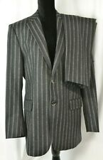 Etro Men's Suit Size 50 Italy Wool Striped Flat Front 40 US Career Hipster Cool
