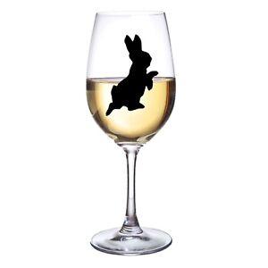 RABBIT VINYL STICKERS FOR WINE GLASS X 6