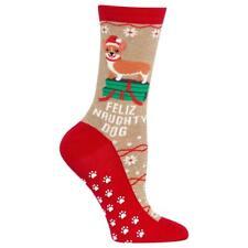 Feliz Naughty Dog Hot Sox Non-Skid Crew Socks Hemp Women 9-11 Holiday Fashion