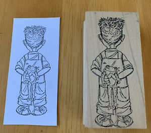 Art Impressions Rubber Stamp Q-1708 Back Boy with Frog Child Toad Toddler Kid