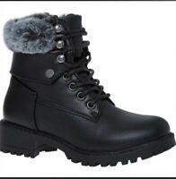 TAHARI Black Faux Fur Trim Hiker Boots Infant Size 11 New