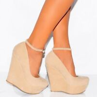 NEW WOMENS LADIES HIGH HEEL PLATFORM MARY JANE WEDGE ANKLE STRAP PARTY SHOES HR5