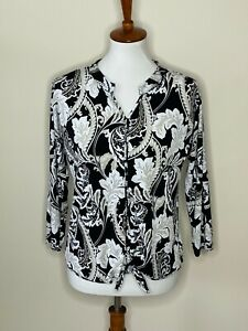 Chico's Size 0 Black White Beige Paisley Knot Long Sleeve Top Shirt V-Neck