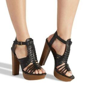 Victoria by SHOEDAZZLE Black manmade leather caged platform sandals SZ 7.5