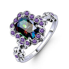 Elegant Women Wedding Jewelry Emerald Cut Rainbow Topaz Gems Silver Ring Gift