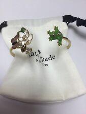 Kate Spade New York Gold Frog & Flower Hinged Cuff Bracelet W/ KS Dust Bag