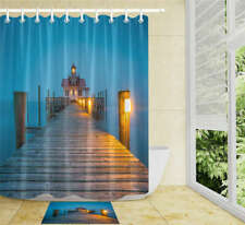 Lights Fence Waterproof Bathroom Polyester Shower Curtain Liner Water Resistant