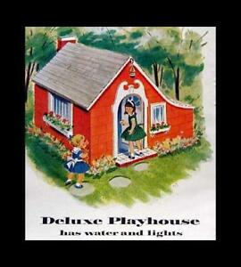 Deluxe Playhouse 1957 How-To build PLANS Cottage with Lights Heat