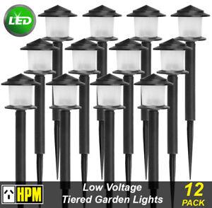 12 x LED Garden Path Lights 2 Tier 12V 1W Low Voltage DIY Black HPM Mackay