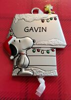Snoopy and Woodstock Hallmark Pewter Ornament Peanuts Personalized GAVIN New