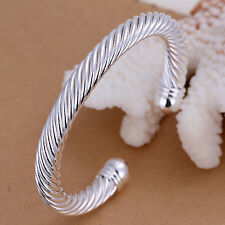 Stunning 925 Sterling Silver Filled 8MM Twisted Rope Solid Charm Bracelet Bangle