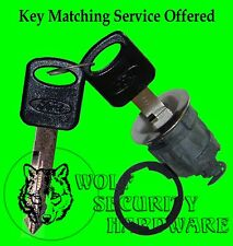 Ford Mazda Single Chrome Door Key Lock Cylinder 2 OEM Keys (Black W/Message)