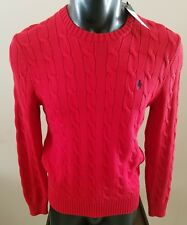 Polo Ralph Lauren Men's Cable-Knit Cotton Sweater - Small - Red