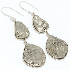 """92.5 Sterling Silver Natural Pyrite Rough Gemstone Earrings 2.40"""" D-743"""