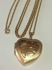 VINTAGE 10K GOLD HEART LOCKET PENDANT NEACKLACE 14K CHAIN 24 INCHES