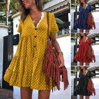ZANZEA 8-24 Women Summer Polka Dot Sundress V Neck Tiered Layered Shirt Dress