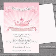 Personalised Kids Birthday Party Invitations Girls Princess Crown x12+envs H0192
