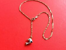 """Dolphin Charm Ankle Anklet Bracelet 9-10"""" Or 10k Yellow Solid Gold Enameled"""
