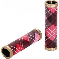 XLC LIFESTYLE HERITAGE BIKE HANDLEBAR GRIPS DOUBLE LOCK ON PINK TARTAN GOLD END