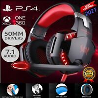Gaming Headset 3.5mm Mic LED Headphones Stereo Bass Surround For PC PS4 Xbox One