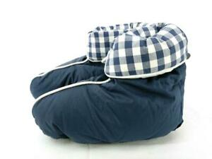 HASTENS Slippers Goose Down Booties Navy Blue with Drawstring Bag Adult Size M