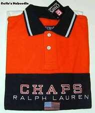 NEW CHAPS RALPH LAUREN Mens Orange Rugby Polo Mesh Flag Patriotic Shirt L