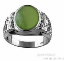 Mens Ring Jade & Diamond Sterling Silver or Gold Plated Silver Nugget Style