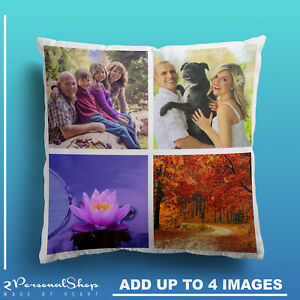 Personalised Photo Pillowcase Cushion Pillow Insert with Filling Up to 4 Pics