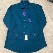 APT 9 Mens Sz 16.5-32/33 Blue Flex Slim Fit Long Sleeve Button Dress Shirt NWT