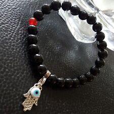 "Silver Hamsa Evil Eye Black Onyx Red Jade Beaded Stretch Bracelet size 8.5"" Men"