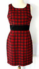 B. Smart Red & Black Plaid Sleeveless Knee Length Shift Dress - 11/12 Punk 1990s