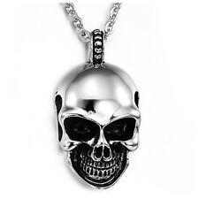Schaedel Tribal Gotik Herren-Anhaenger 50cm Halskette Schwarz Silber ET