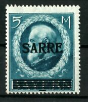 GERMANY SARRE 5 M. Mi. 30 .Pr.2500 SIGNED MNH