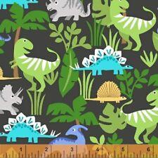 FLANNEL - Dinosaur in Charcoal - Cubby Bear by Windham Fabrics   - 1 yard