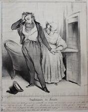 """HONORE DAUMIER, Lithograph, Circa 1850 -""""Exploitation du suicide d'Aubert et de"""
