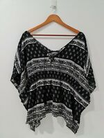 [ Lee Cooper ] Women's Floral Printed Black & White Blouse Top | Size AU14