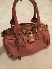 Authentic Chloe Paddington Lock Camel Leather Hand Bag Purse Made Italy