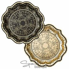 LUXURY BAROQUE PAPER PLATES - Black & Gold (22cm) - Vintage Tea/Dinner Party
