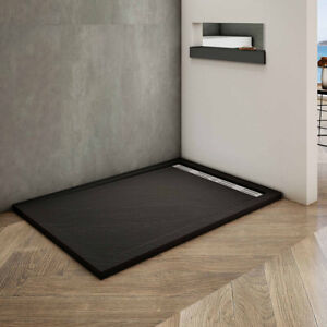 Luxury Square/Rectangle Waste&Drain Trap Shower Stone Tray Slate Effect+Free