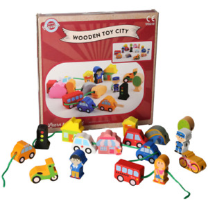 A to Z Wooden Classics Toys Wooden Toy City, 18 Months + Learn to Thread Shapes