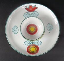ITALIAN POTTERY APPETIZER OR CHIP/DIP PLATE HAND PAINTED HIMARK GIFT WARE ITALY