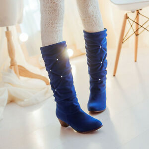 Ladies Women Rhinestone Ruched Velvet Pull On Block Heel Riding Ankle Boot Shoes