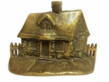 Heavy Brass Doorstop Bookend Picket Fence Cottage Home 7.5""