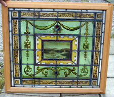A LOVELY ANTIQUE STAINED GLASS PAINTED WINDOW DEPICTING A LAKELAND SCENE